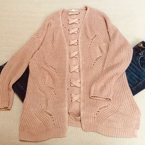 Pink Republic pale pink open knit cardigan